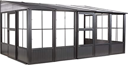 Sojag Outdoor 10' x 16' Charleston Solarium Wall-Mounted Sunroom with Mosquito Nets, Dark Grey