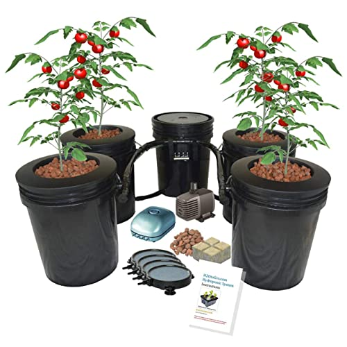 Hydroponic Recirculating Deep Water Culture System with Root Spa. (4) 5 Gallon Buckets