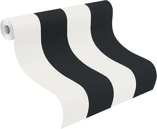 Rash Just Me 286694 Papier peint graphique à rayures - Noir crème/Blanc