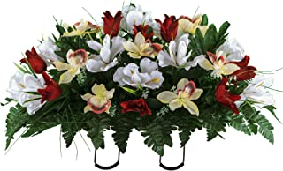 Sympathy Silks Artificial Cemetery Flowers – Realistic Vibrant Tulips, Outdoor Grave Decorations - Non-Bleed Colors, and Easy Fit - Red White Tulip Saddle