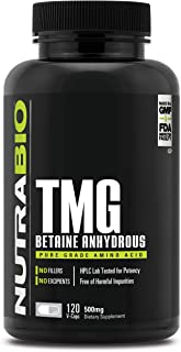 NutraBio Trimethylglycine (TMG, Betaine) (500mg) - 120 Vegetable Capsules