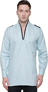 Cotton Mens Short Kurta Shirt India Traditional Apparel