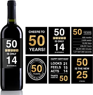 50th Birthday Wine Bottle Labels or Stickers Present,1968 Birthday Gifts For Men or Women,60th birthday decorations,Funny Fifty Black Gold Party Decoration Centerpiece Supplies.