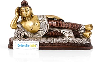 Collectible India Resting Buddha Brass Statue | Buddhism Reclining Silver Finish Home Decor Idol Sculpture