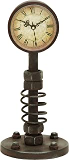 Deco 79 Benzara Traditional Metal Clock with Roman Numerals, Rusty Finish