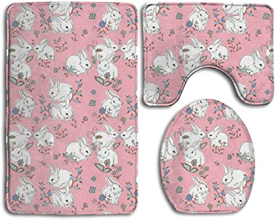 KDCRDIY White Bunnies With Pink Bathroom Rug Mat 3 Pcs Set Flannel Shower Bath  Rugs