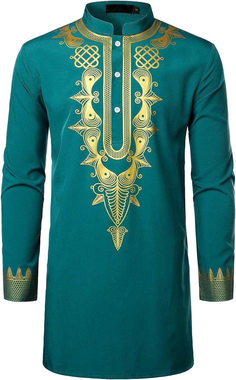 LucMatton Men's Long Sleeve Dashiki African Traditional Wedding Dress Shirt Luxury Gold Printed Clothing