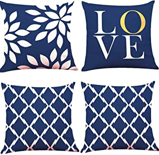 "BJYHIYH Navy Blue Pillow Covers 18""x18""Soft Polyester Decorative Pillow Covers for Living Room Bedroom Set of 4"