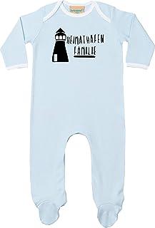 Kleckerliese Baby Kinder Schlafanzug Strampler Langarm Einteiler Motiv Heimathafen Familie Leuchtturm
