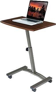 Seville Classics Height Adjustable Sitting Mobile Laptop Desk Cart Ergonomic Table, Flat..