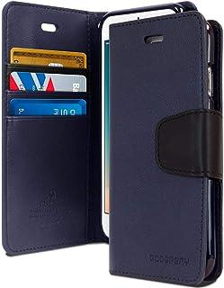 غطاء حافظة حماية ومحفظة لجهاز آيفون بلس 7 و 8 من الجلد مع جيوب داخلية وقاعدة تثبيت، أزرق
