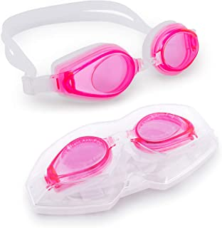 Adult Swimming Goggles with Case | Light Color Tint, UV...