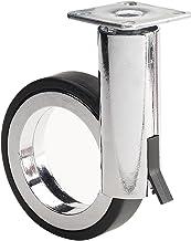 Richelieu 硬件 - 8088128140 - Rotola 系列设计脚轮 - 带制动器旋转 - 黑色镀铬表面