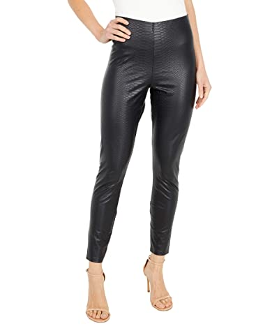 HUE Croco Leatherette High-Rise Leggings (Black) Women