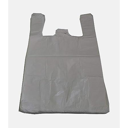 Tezraftaar/® Plastic Vest Carrier Bags 14MU White 11x17x21 100