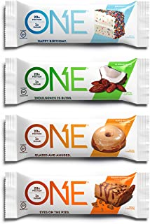 ONE Protein Bars, Best Sellers Variety Pack, Gluten Free 20g Protein and only 1g Sugar, Birthday Cake, Almond Bliss, Maple...