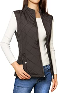Allegra K Women's Stand Collar Lightweight Gilet Quilted Zip Vest Brown XS (US 2)