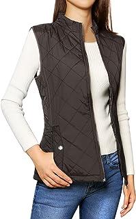 Allegra K Women's Zip Up Stand Collar Slant Pockets Quilted Padded Vest Brown L