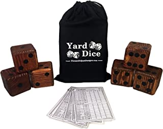 """Yard Dice Giant Wooden Yard Game, 6 Solid 3.5"""" Wood Dice, Storage Bag, 5PK 5""""x7"""" Yardzee and Yarkle Dry Erase Score cards - Jumbo Yard Games Great for Weddings, family reunions, Backyard BBQs and more"""