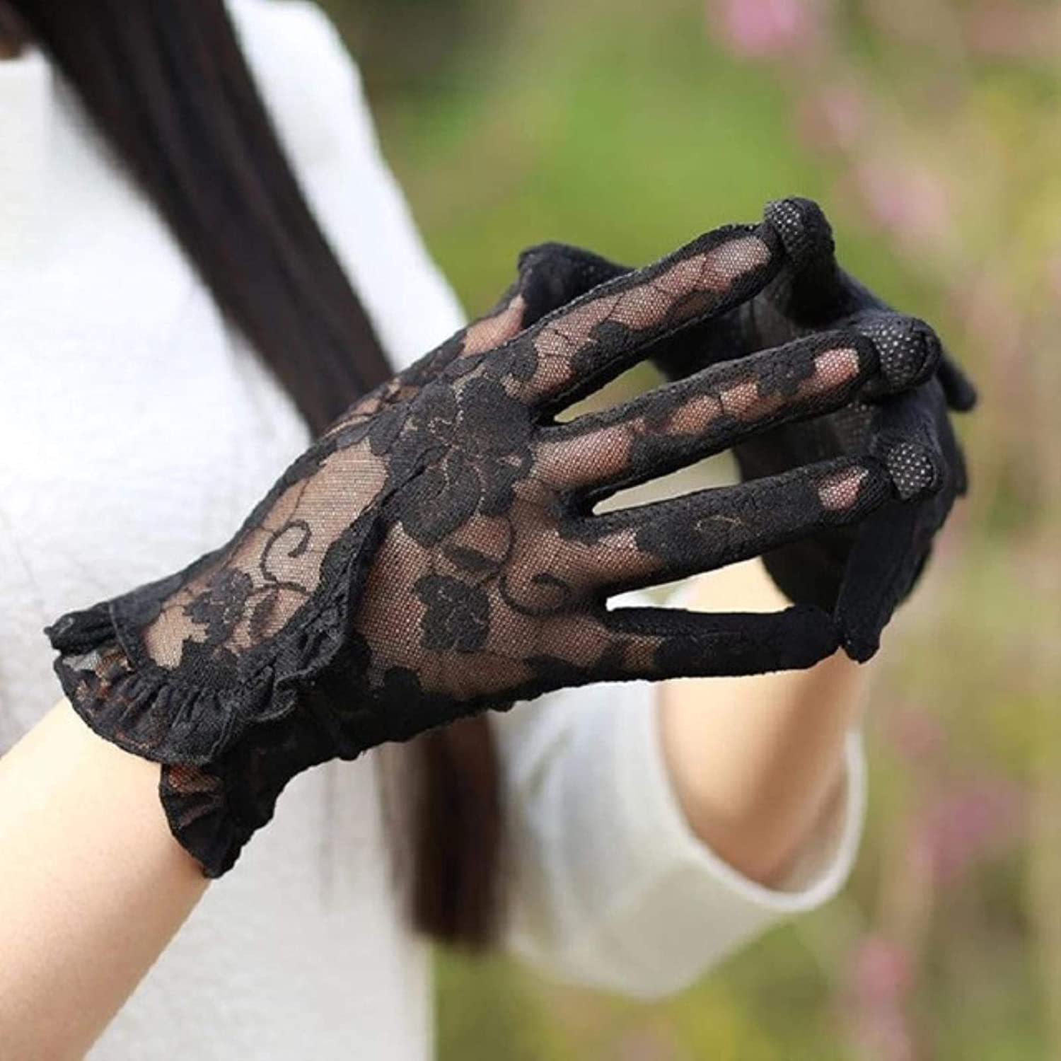 Fashion Lace Touch Screen Gloves Summer Sunscreen Ladies Anti-UV Driving Anti-Skid Cycling Lace Lotus Leaf Gloves