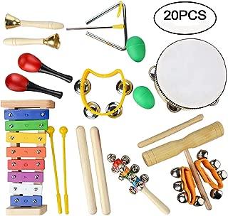 Juego de instrumentos musicales, juguetes de percusión de madera, educación por el ritmo y la música, regalo ideal para niños, 20 piezas
