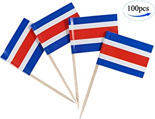 JBCD Costa rica Flag Toothpicks Costa Rican Flags 100 Pcs Cupcake Toppers Flag Tooth picks Small Mini Stick paper flags Picks Party Celebration Cocktail Food Bar Cake Flags