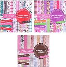 3bloques de imágenes de 20 hojas cada uno, impresas porambos lados, papel de diseño, papel para manualidades, 60hojas, 60diseños