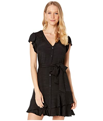 1.STATE Short Sleeve Button Down Asymmetrical Ruffle Dress (Rich Black) Women