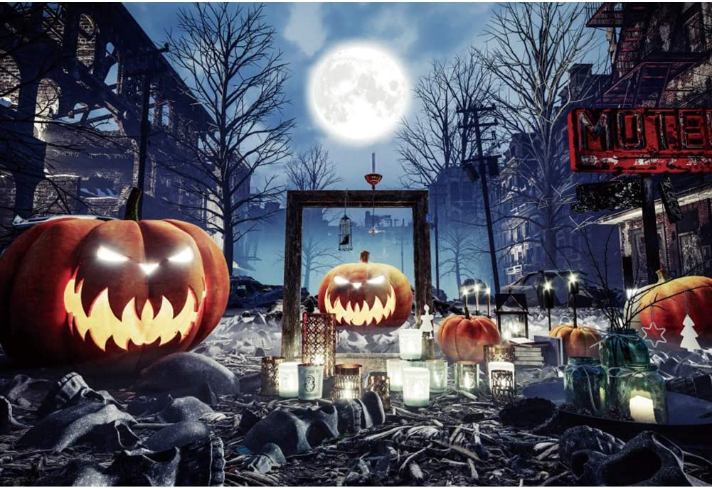 DaShan 10x6.5ft Scary Halloween Graveyard Backdrop for Cemetery Ghost Skull Gloomy Destroyed City Horrible Creepy Haunted Pumpkins Lamps Photography Background Witch Wizard Sorcerer Youtube Photo Prop