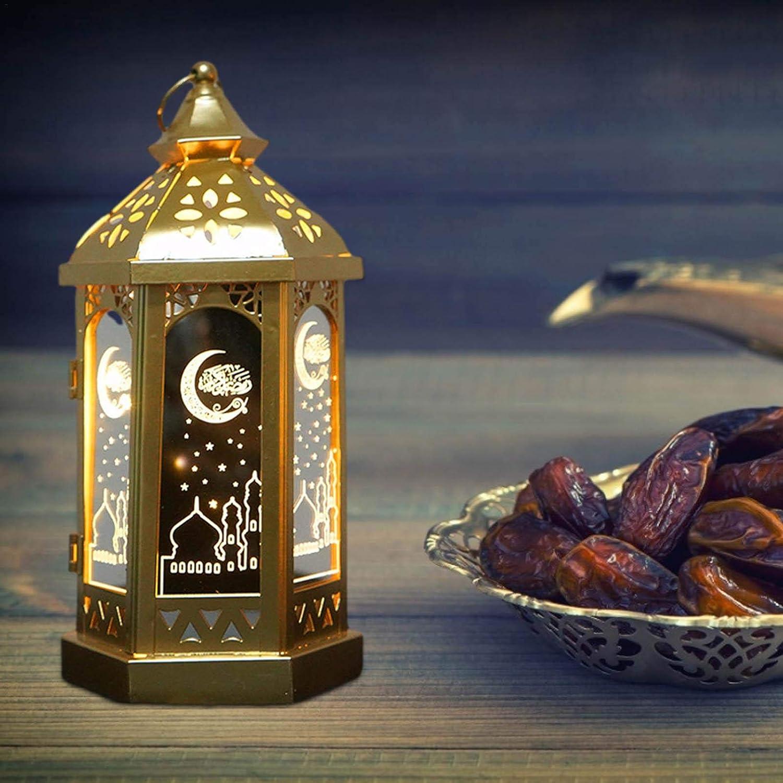 /Év/énements Rubeyul Lanterne de Style marocain Ramadan avec Porte-Bougie d/écoratif /à LED avec Panneaux en Verre Transparent pour la Terrasse Lint/érieur Lext/érieur