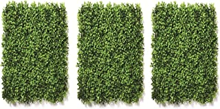 Go Hooked Artificial Small Leaves Vertical Wall Grass Tiles Grass Wall Panel, Set of 3, Green)