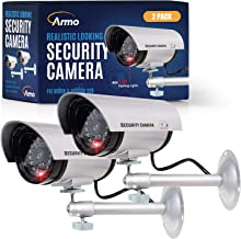 (2 Pack) Dummy Security Camera, Fake Bullet CCTV Surveillance System with Realistic Look..