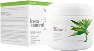 Facial Rose Mask - With Vitamin C, Hyaluronic Acid, Niacinamide, Aloe Vera & More - Best Skin Brightening & Moisturizing Blend for Face - Made With Fresh Rose Petal Extract - InstaNatural - 4 OZ