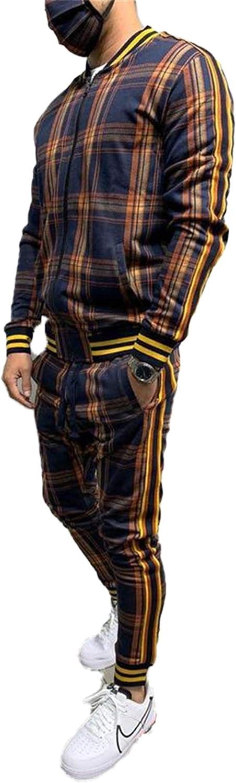 Men' 3D Plaid Raleigh Max 71% OFF Mall Sports Set Slim Hip-Hop Fashion Trend Zi Jacke