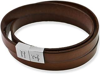 Herren Armband Gravur Leder braun Mann  Lederarmband Koordinaten oder Spruch  Armband mit Gravur Männer Herrenschmuck Männerschmuck | HANDMADE IN GERMANY