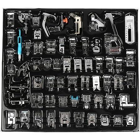 Prensatelas accesorios, Akozon Prensatelas para Máquina de coser doméstica 62 pcs Accesorios de costura multifuncionales Descripcion en ingles