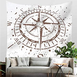 YOLIYANA Compass Stylish Tapestry,Retro Tainted and Splashed Paint on a Voyage Windrose Discovery Theme Vintage Art Design for Indoor,30