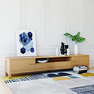 200 cm Solid Oak Wood Entertainment Unit TV Cabinet & Storage Wooden Furniture, Natural