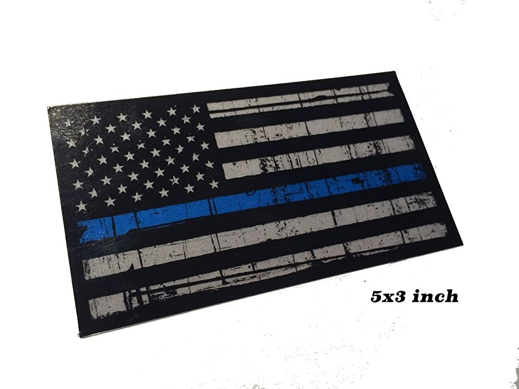 LARGE 5x3 inch reflective Tattered 3M Thin Blue Line Decal Sticker United States Us Flag Tactical Police Law Enforcement n869249948