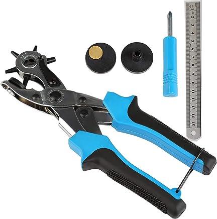 穴開けパンチ レザーパンチ 回転式 丸穴 楕円6つ大きさ 2mm~4.5mm 丸 時計 ベルト (ブルー)スペーサとドライバー付属 物差し付き