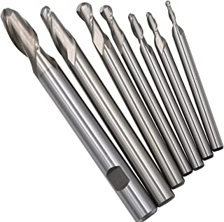 Wokesi Pack of 7Pcs,3 4 5 6 8 10 12mmBlade Diameter,High Speed Steel (M2AI),Full Grinded,Ball Nose End Mill Cutter CNC Router Bits