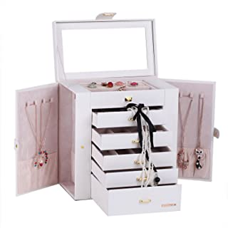 Large Mirror Luxury Jewellery Box Cabinet Necklaces Rings Watch Storage Case Box for Women Men 241 (White)