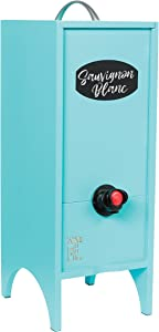 Wine Nook Wooden Wine Cocktail Box Dispenser, Decorative, Naturally Insulated, Fillable Ice Pack Beverage Bag, chalk included (Turquoise) 3 Liter