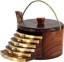 WoodivaHandmade Wooden Tea Coaster Set of 6, Round Handicraft with Brass Decor Cattle Shape (Brown 14 cm x11 cm x 10cm)
