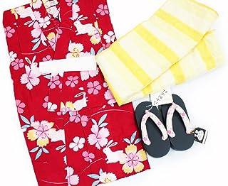 【女の子浴衣3点セット(100)】【赤地系/黄色系】3?4歳 兵児帯 下駄 キッズ ガールズ