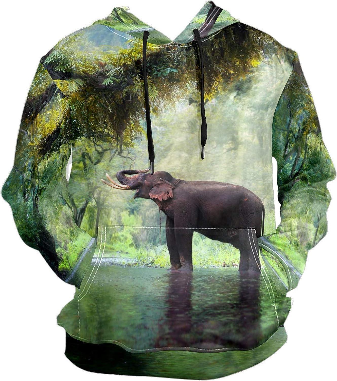 Men's Sport Hoodie Tropical Rainforest Elephant Animal Big and Tall Hoodies for Men Women Oversized Hooded Sweatshirt Hip Hop Pullover Hoodie Midweight Hood for Boys Girls