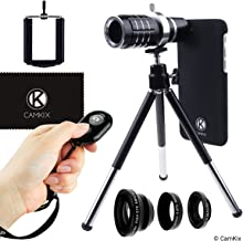CamKix Lens and Bluetooth Shutter Remote Kit Compatible with Apple iPhone 8 and iPhone 7 - Includes Bluetooth Remote, 12x Telephoto, Fisheye, Macro, Wide Angle Lens, Tripod, Holder, Lens Ring, Case