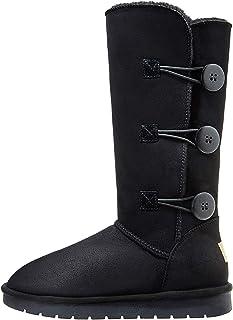 CAMEL 30.48 سم طويلة لمنتصف الساق الشتاء للنساء جزمة الثلوج من الفراء الصناعي 3 أزرار أحذية عالية الرقبة حتى الركبة