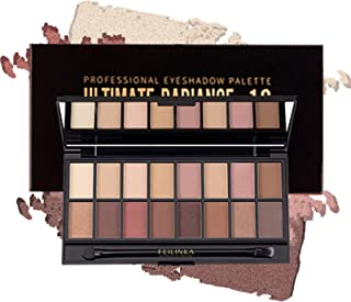Onlyoily 16 Colors Shiny Eyeshadow Palette Eye Shadow Powder Tray Eyeshadow Disc Portable Shimmer Glitter Matt with Brushes Waterproof Long Lasting