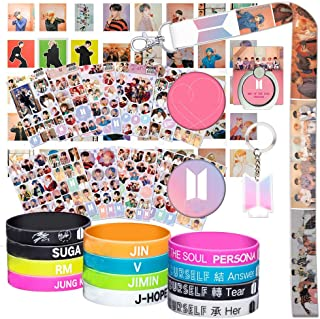 Bangtan Boys Gifts Set for Army - 40Pcs Map of The Soul Photocard / 12 Silicone Wrisbands Bracelets/ 12 Stickers/ 1 Phone Ring Holder/1 Lanyard/ 1 Keychain